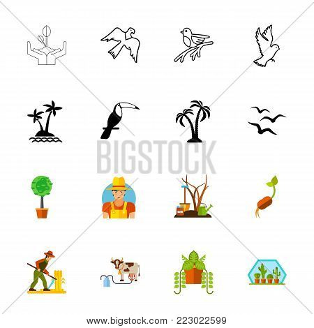 Icon set of nature signs. Wildlife and cultivation, farming, environment. Nature concept. Can be used for topics like flora and fauna, agriculture, gardening