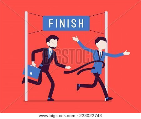Businessmen at finish line. Young men at line marking the end of a race course, first wins a game, market contest, competition, or election. Vector business concept illustration, faceless characters