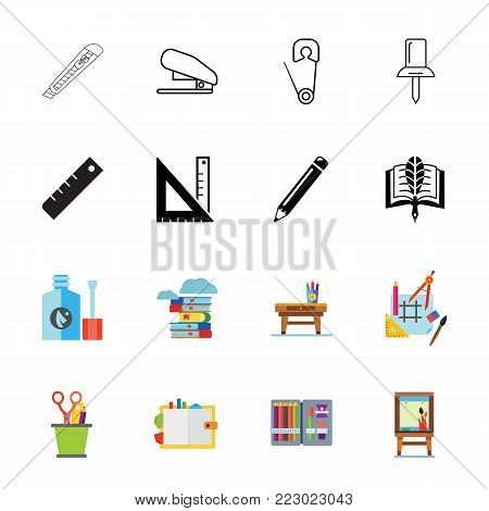 Icon set of stationary. School, studying, office supply. Education concept. Can be used for topics like business, art, leisure