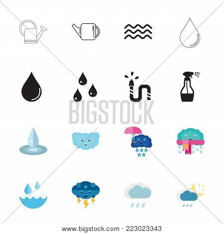 Icon set of water symbols. Liquid, precipitation, moisture. Water concept. Can be used for topics like gardening, nature, weather