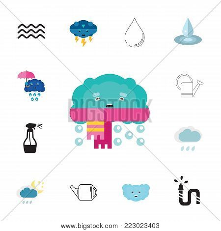 Icon set of water symbols. Liquid, precipitation, weather forecast. Water concept. Can be used for topics like gardening, nature, climate