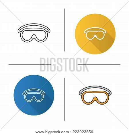 Goggles icon. Flat design, linear and color styles. Protective spectacles. Isolated vector illustrations
