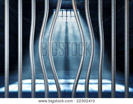 prison 3d and bended metal bar background
