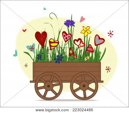 Flower arrangement from blooming hearts in garden cart. Illustration symbolizing joy, love and happiness. Perfect for greeting card, greeting with Valentine's day. Horizontal location. Vector.