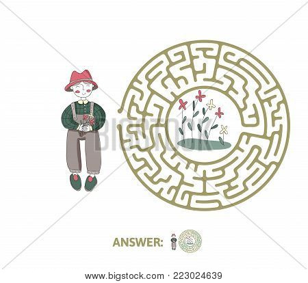 Children's maze with gardener and flowers. Cute puzzle game for kids, vector labyrinth illustration.