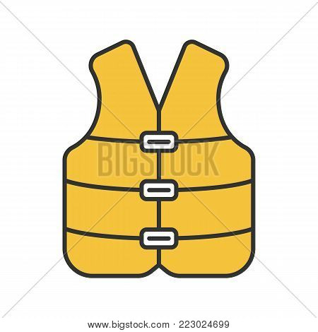 Life jacket color icon. Boating life vest. Isolated vector illustration