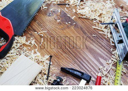 working tool carpenter ruler, chisel, pencil, sawdust and shavings