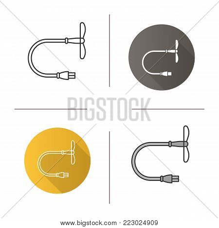 USB fan icon. Flat design, linear and color styles. Mini cooler. Isolated vector illustrations