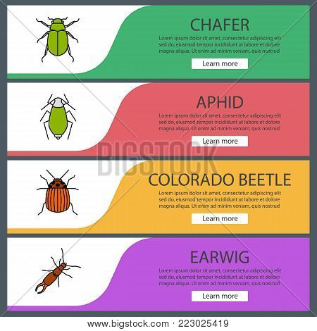 Insects web banner templates set. Chafer, aphid, colorado beetle, earwig. Website color menu items. Vector headers design concepts