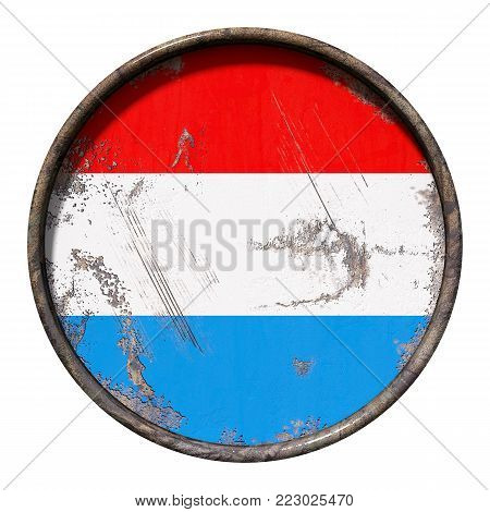 3d rendering of a Luxembourg flag over a rusty metallic plate. Isolated on white background.