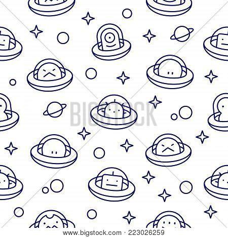UFO aliens collection, different extraterrestrials in flying saucers with stars and planets, outline cartoon style, baby vector seamless pattern on white background