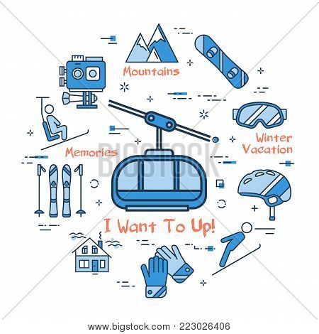 Vector linear blue round concept of Winter Mountain Lift. Line icons of winter outdoor recreation, skiing, ski lifts, mountain holidays and equipment