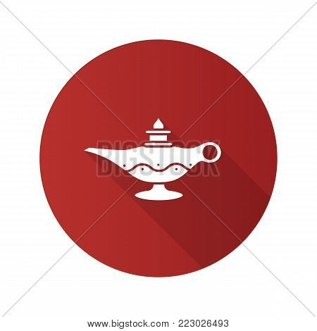 Islamic oil lamp flat design long shadow glyph icon. Islamic culture. Magic lamp. Vector silhouette illustration