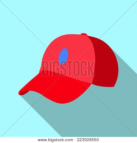 Red baseball cap icon. Flat illustration of red baseball cap  icon for web on blue background EPS