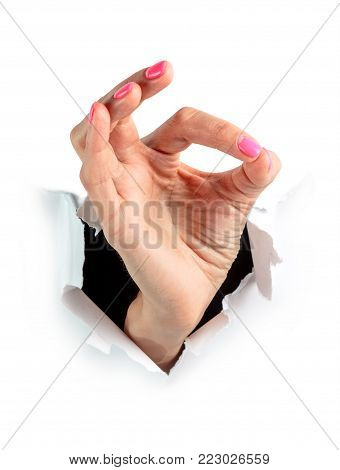 Hand isolated. Gestures with hands on white background. Ok gesture.
