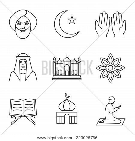 Islamic culture linear icons set. Muslim man, ramadan moon, islamic prayer, mosque, quran book, muslim star. Thin line contour symbols. Isolated vector outline illustrations