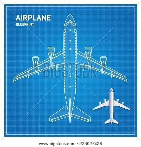 Airplane Blueprint Plan Top View White Contour and Realistic 3d Detailed Aviation Jet. Vector illustration of Blue Print