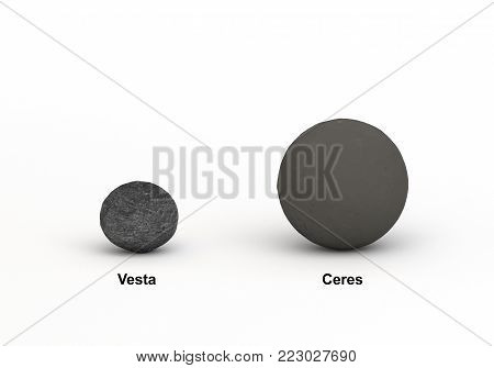 This image represents the size comparison between Ceres and Vesta dwarf planet in a precise and scientific design.This is a 3d rendering.