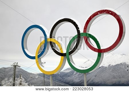 KRASNAYA POLYANA, SOCHI,  RUSSIA- 06  december 2017: Olympic rings on the background of snow mountains, Editorial.