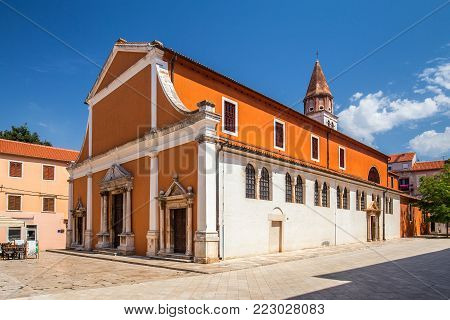 Historic center of the Croatian town of Zadar at the Mediterranean Sea, Church of St.Simeon, Europe.