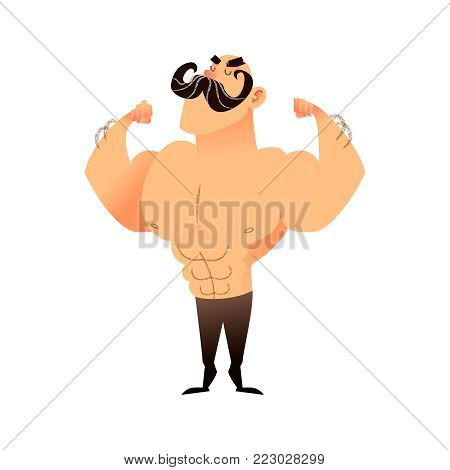 Cartoon muscular brutal man with a mustache. Funny athletic guy. Bald man proudly shows his muscles in strong arms. Vector flat illustration of an athlete or circus performer. Strong character with naked torso shows muscular arms with biceps and triceps