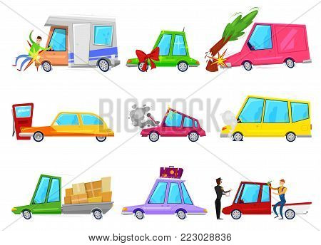 Cartoon car accident vector comic minicar and broken vehicle after automobile accident with pedestrian character and minivan or auto with trailers set illustration isolated on white background.