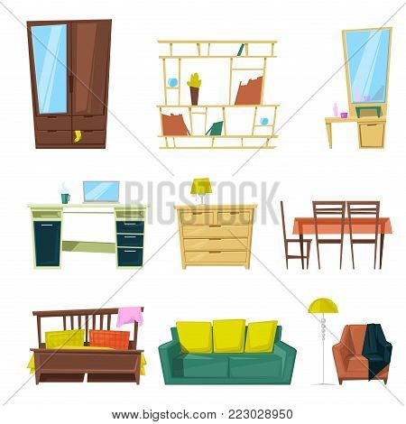 Furniture vector furnishings design of sofa couch and bed in furnished interior or armchair and chair for decoration in apartment or to furnish room set illustration isolated on white background.