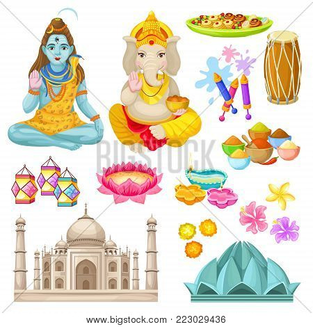 Colorful indian culture elements set with Shiva Ganesha Gods sweets lanterns diya buildings spices fireworks drums flowers isolated vector illustration