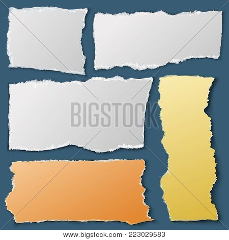 White torn paper pieces. Ripped notebook papers. Scrap material vector collection. Illustration of message notes