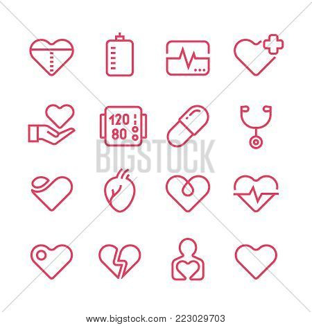 Cardiology medicine vector line icons. Cardiologist and heart diseases vector symbols. Health heart line icons. Illustration of cardiology medicine