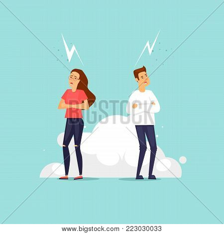 Couple swears, quarrels. Flat vector illustration in cartoon style.