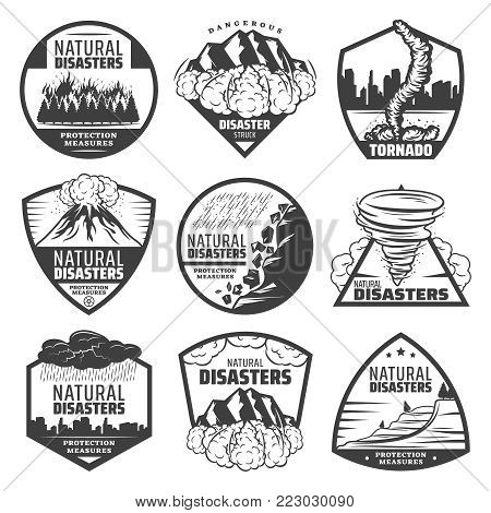 Vintage monochrome natural disaster labels set with wildfire landslide avalanche tornado volcano eruption thunderstorm rainfall flood isolated vector illustration