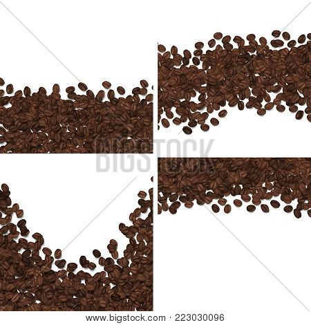 Roasted coffee beans isolated on white background vector set. Coffee bean organic banner with copy space illustration