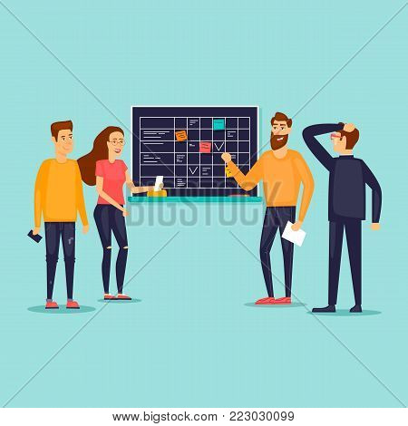 Office work, discussion of plans, teamwork. Flat vector illustration in cartoon style.