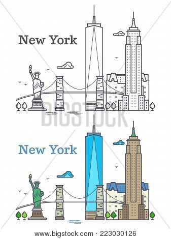 New York city outline skyline, nyc line silhouette, usa tourist and travel concept. Nyc building architecture illustration