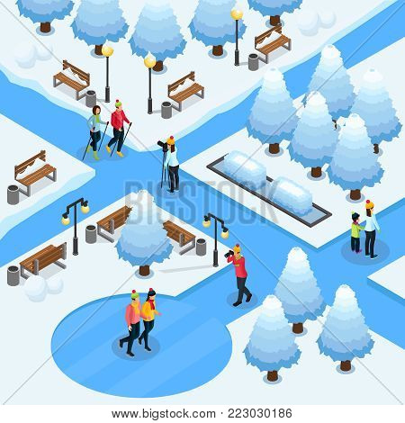Isometric freelance photography template with photographers making photos of sport couples in winter park isolated vector illustration