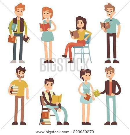 Women Men Reading Vector & Photo (Free Trial) | Bigstock