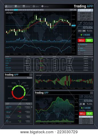 Forex market app vector interface with business financial market charts and global economics data graphs. Illustration of statistic and analysis monitor, investment in economic trade