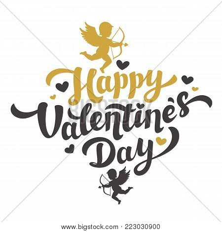 Valentines Day card with the image of Cupid silhouette. Happy Valentines Day Lettering. 14th of february greeting card. Black and gold inscription with hearts and angels on white background. Vector illustration.
