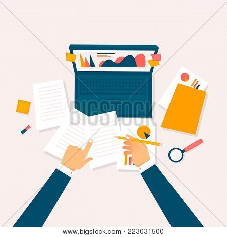 Data analysis, businessman at the computer examining papers. Flat vector illustration in cartoon style.