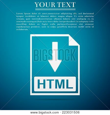 HTML file document icon. Download HTML button icon isolated on blue background. Flat design. Vector Illustration