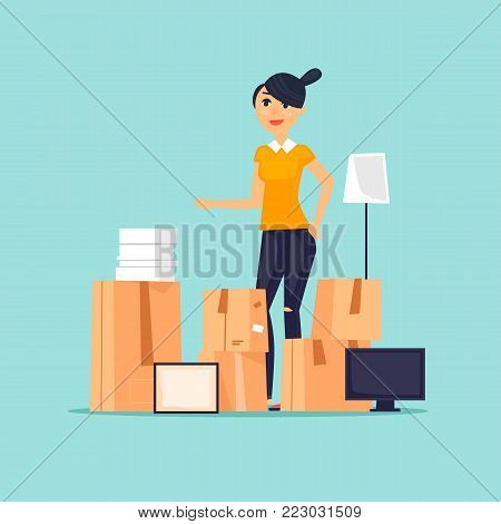 Moving, girl with boxes. Flat vector illustration in cartoon style.
