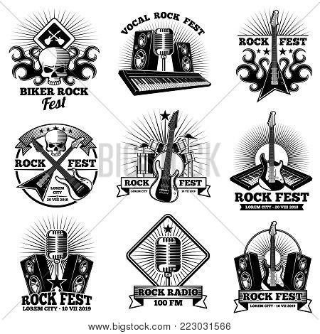 Retro rock n roll band labels. Grunge rocks party festival vector labels. Music rock band, illustration of musical logo or emblem