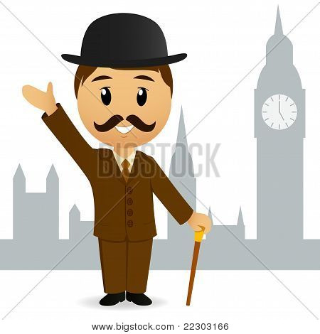 Cartoon English Gentleman Greeting