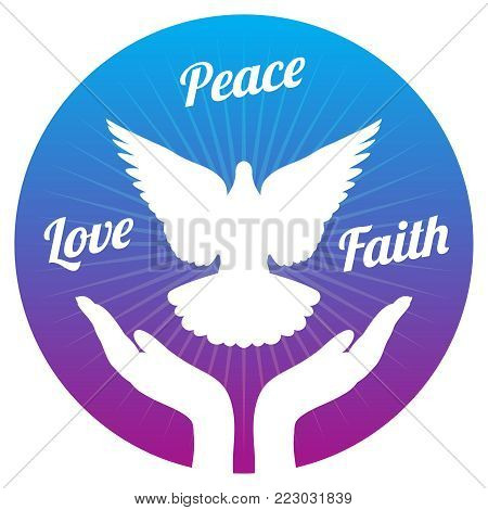 Dove peace flying from hands in sky. Love, freedom and religion faith vector concept. Peace and love, faith and hope illustration