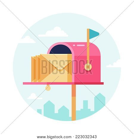 Letterbox with envelopes. Vector mail box. Postal sending and receiving concept. Mailbox and letterbox with message illustration