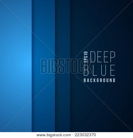 Abstract technology vector template blue background. Corporate layout design. Deep blue dark gradient illustration