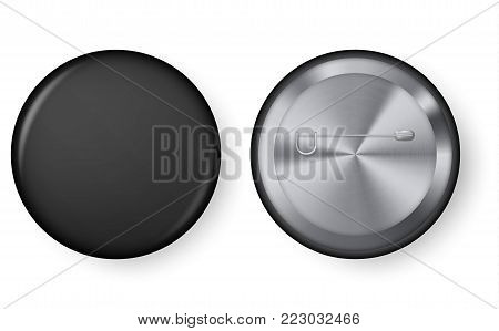Collection of realistic pin buttons. Black blank badge pin brooch isolated on white background. 3D vector style. Black blank badging round button badge isolated realistic vector template.