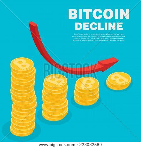 The graph shows the fall and profits decline cryptocurrency. Vector isometric illustration of bitcoin digital cryptocurrency. Stack of gold coins like loss graph with bitcoin.