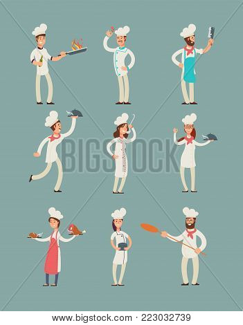 Smiling restaurant chefs, professional cooks in kitchen uniform vector cartoon characters set. Character chef professional in uniform illustration